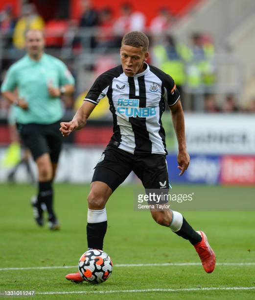 Dwight Gayle of Newcastle United FC controls the ball during the Pre Season Friendly between Rotherham United and Newcastle United at AESSEAL New...