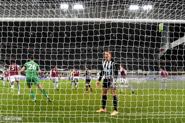 Dwight Gayle of Newcastle United reacts during the Premier League match between Newcastle United and Aston Villa at St. James Park on March 12, 2021...