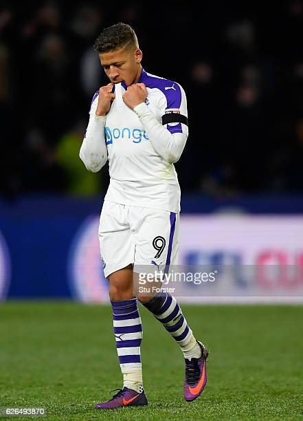 Dwight Gayle of Newcastle United reacts following defeat in the penalty shoot out after the EFL Cup Quarter-Final match between Hull City and...