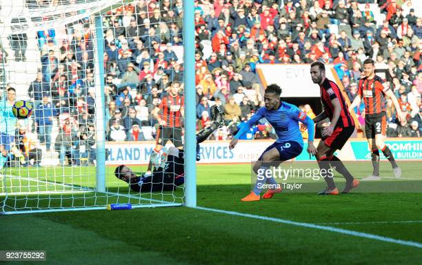 Dwight Gayle of Newcastle United scores his second goal during the Premier League match between AFC Bournemouth and Newcastle United at Vitality...