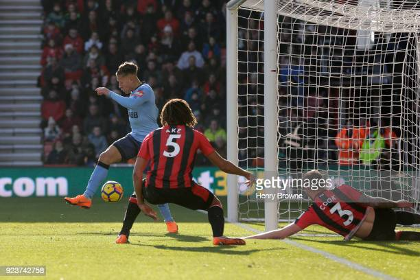 Dwight Gayle of Newcastle United scores his side's first goal during the Premier League match between AFC Bournemouth and Newcastle United at...