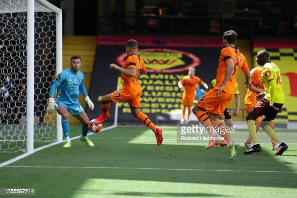 Dwight Gayle of Newcastle United scores his team's first goal past Ben Foster of Watford during the Premier League match between Watford FC and...