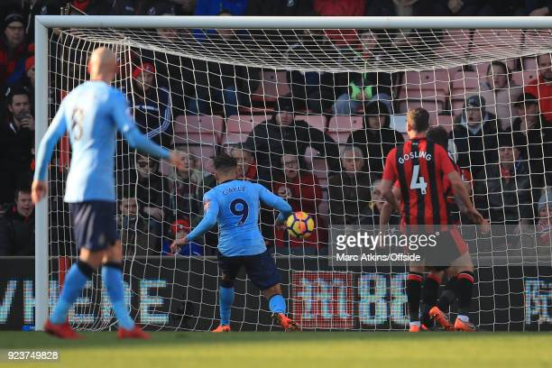 Dwight Gayle of Newcastle United scores their 2nd goal during the Premier League match between AFC Bournemouth and Newcastle United at Vitality...