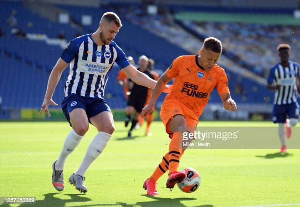 Dwight Gayle of Newcastle United turns away from Adam Webster of Brighton and Hove Albion during the Premier League match between Brighton Hove...