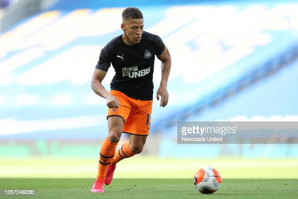 Dwight Gayle of Newcastle United warms up prior to the Premier League match between Brighton Hove Albion and Newcastle United at American Express...