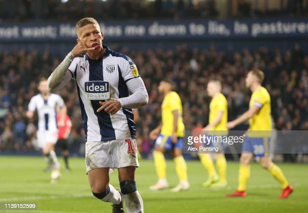 Dwight Gayle of WBA celebrates scoring to make it 1-1 during the Sky Bet Championship match between West Bromwich Albion and Birmingham City at The...