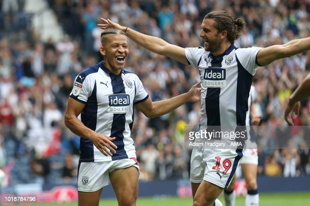 Dwight Gayle of West Bromwich Albion celebrates after scoring a goal to make it 4-1 during the Sky Bet Championship match between West Bromwich...