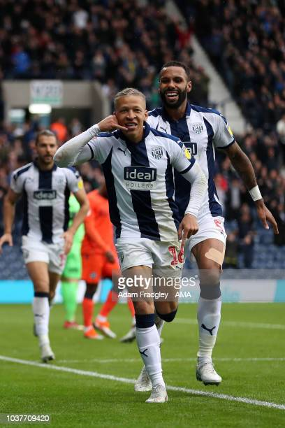 Dwight Gayle of West Bromwich Albion celebrates after scoring a goal to make it 10 during the Sky Bet Championship match between West Bromwich Albion...