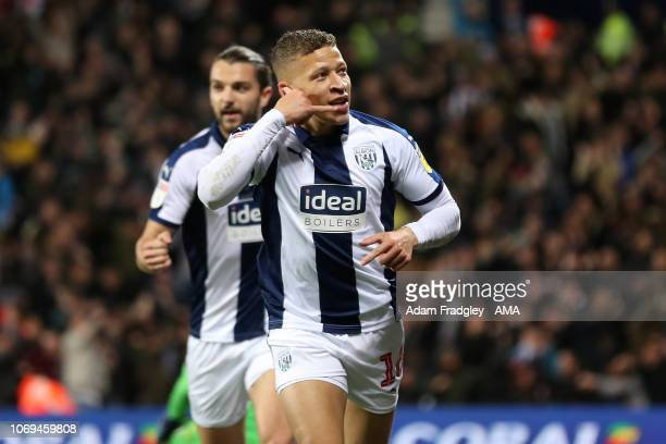 Dwight Gayle of West Bromwich Albion celebrates after scoring a goal to make it 11 during the Sky Bet Championship match between West Bromwich Albion...