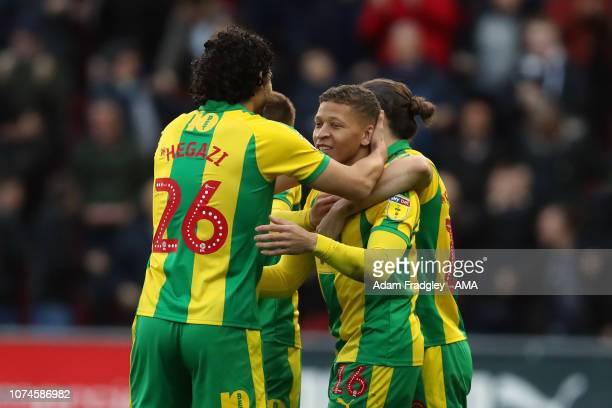 Dwight Gayle of West Bromwich Albion celebrates after scoring a goal to make it 01 with Jay Rodriguez of West Bromwich Albion during the Sky Bet...