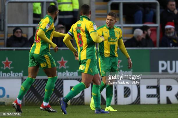 Dwight Gayle of West Bromwich Albion celebrates after scoring a goal to make it 03 during the Sky Bet Championship match between Rotherham United and...