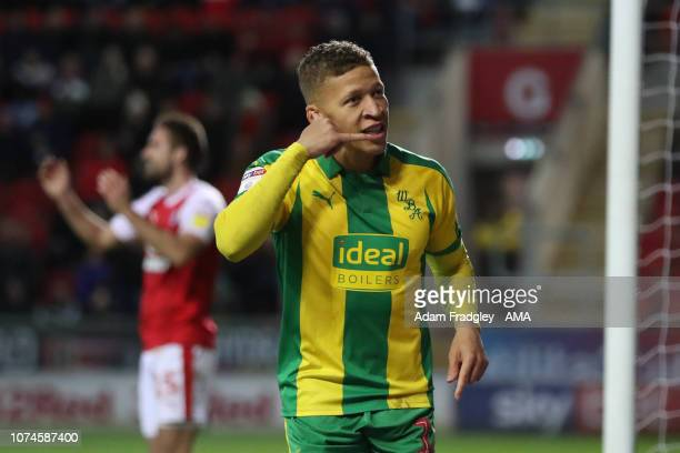 Dwight Gayle of West Bromwich Albion celebrates after scoring a goal to make it 04 during the Sky Bet Championship match between Rotherham United and...