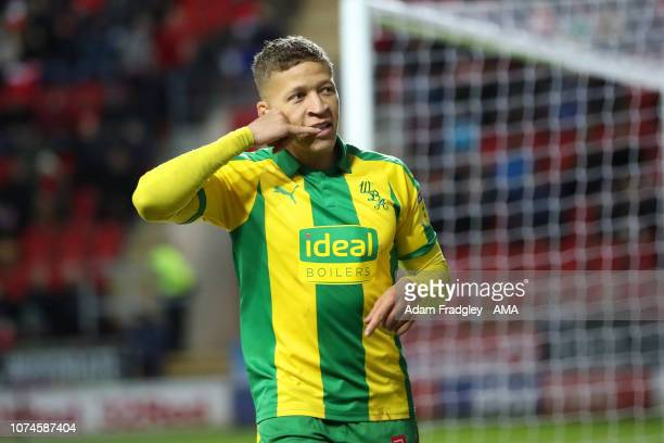 Dwight Gayle of West Bromwich Albion celebrates after scoring a goal to make it 0-4 during the Sky Bet Championship match between Rotherham United...