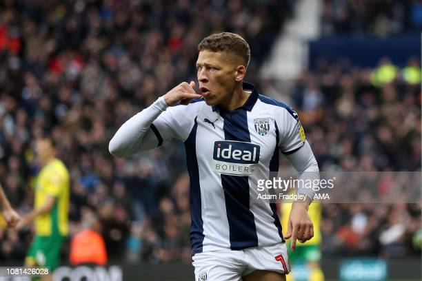 Dwight Gayle of West Bromwich Albion celebrates after scoring a goal to make it 10 during the match between West Bromwich Albion and Norwich City at...