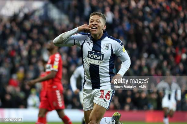 Dwight Gayle of West Bromwich Albion celebrates after scoring a goal to make it 21 during the Sky Bet Championship match between West Bromwich Albion...
