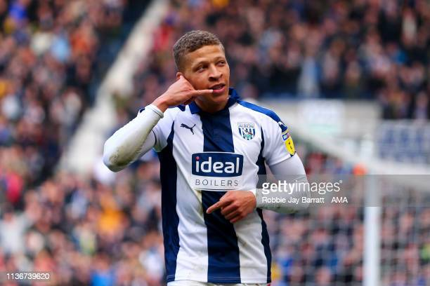Dwight Gayle of West Bromwich Albion celebrates after scoring a goal to make it 1-0 during the Sky Bet Championship match between West Bromwich...