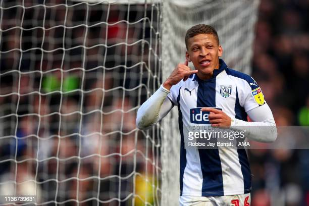 Dwight Gayle of West Bromwich Albion celebrates after scoring a goal to make it 2-0 during the Sky Bet Championship match between West Bromwich...