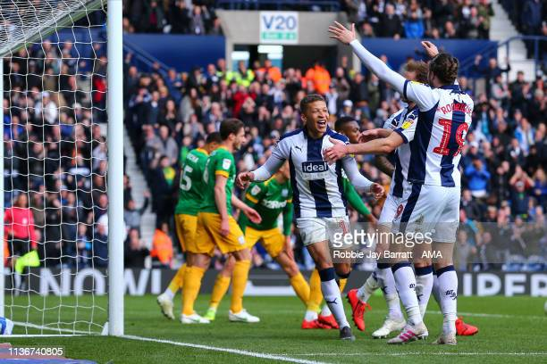Dwight Gayle of West Bromwich Albion celebrates after scoring a goal to make it 40 during the Sky Bet Championship match between West Bromwich Albion...