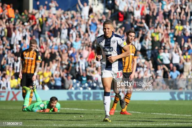 Dwight Gayle of West Bromwich Albion celebrates after scoring a goal to make it 32 during the Sky Bet Championship fixture between West Bromwich...