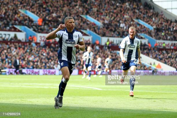 Dwight Gayle of West Bromwich Albion celebrates after scoring a goal to make it 0-1 during the Sky Bet Championship Play-off Semi Final: First Leg...