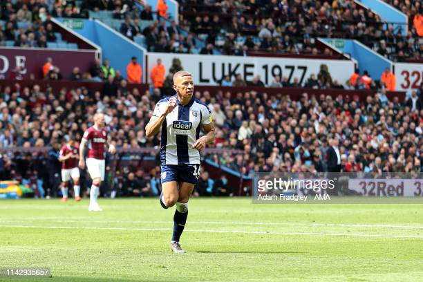 Dwight Gayle of West Bromwich Albion celebrates after scoring a goal to make it 01 during the Sky Bet Championship Playoff Semi Final First Leg match...