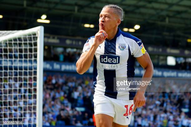 Dwight Gayle of West Bromwich Albion celebrates scoring during the Sky Bet Championship match between West Bromwich Albion and Stoke City at The...