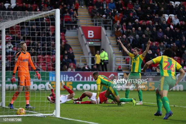 Dwight Gayle of West Bromwich Albion gets up after he scores a goal to make it 03 as Jay Rodriguez of West Bromwich Albion celebrates during the Sky...