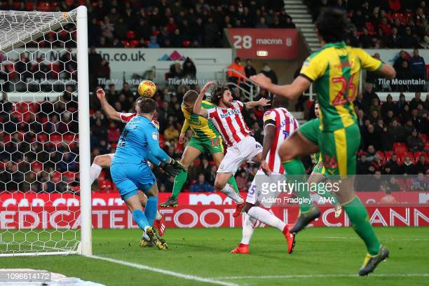 Dwight Gayle of West Bromwich Albion scores a goal to make it 01 during the Sky Bet Championship fixture between StokeCity and West Bromwich Albion...