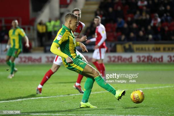 Dwight Gayle of West Bromwich Albion scores a goal to make it 04 during the Sky Bet Championship match between Rotherham United and West Bromwich...