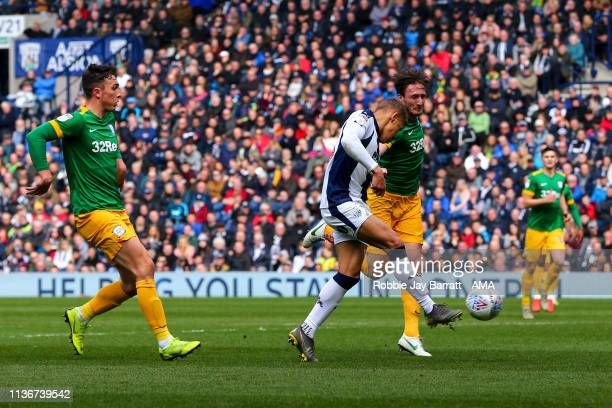 Dwight Gayle of West Bromwich Albion scores a goal to make it 10 during the Sky Bet Championship match between West Bromwich Albion and Preston North...