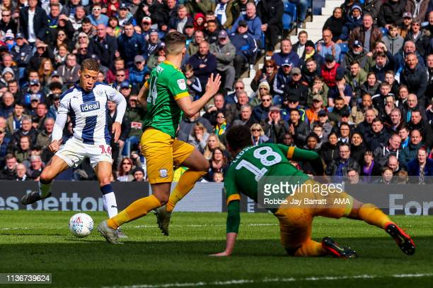 Dwight Gayle of West Bromwich Albion scores a goal to make it 20 during the Sky Bet Championship match between West Bromwich Albion and Preston North...