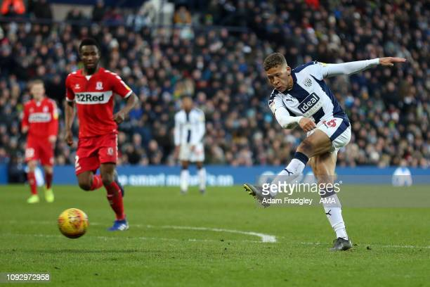 Dwight Gayle of West Bromwich Albion scores a goal to make it 2-1 during the Sky Bet Championship match between West Bromwich Albion and...
