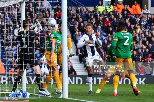 Dwight Gayle of West Bromwich Albion scores a goal to make it 40 during the Sky Bet Championship match between West Bromwich Albion and Preston North...