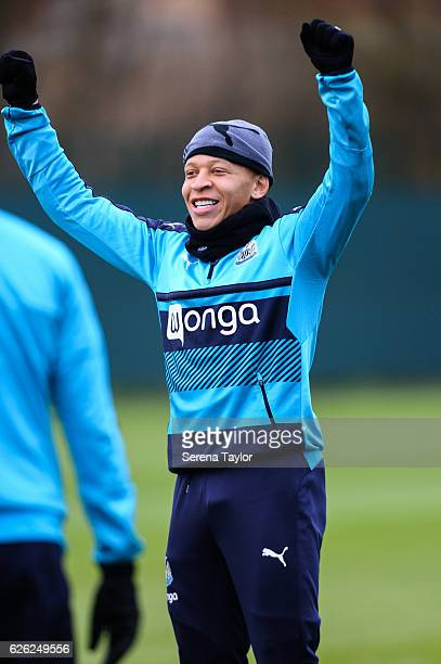 Dwight Gayle reacts during the Newcastle United Training Session at The Newcastle United Training Centre on November 28 2016 in Newcastle upon Tyne...