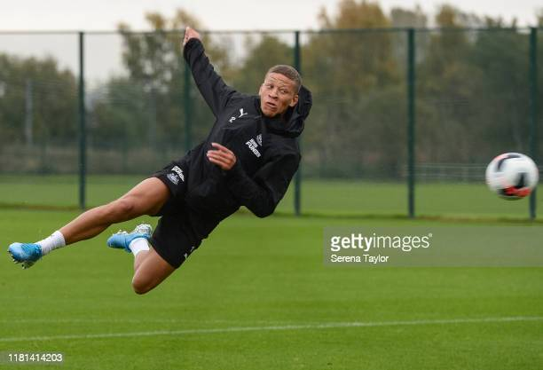 Dwight Gayle volley's the ball towards goal during the Newcastle United Training Session at the Newcastle United Training Centre on October 16 2019...