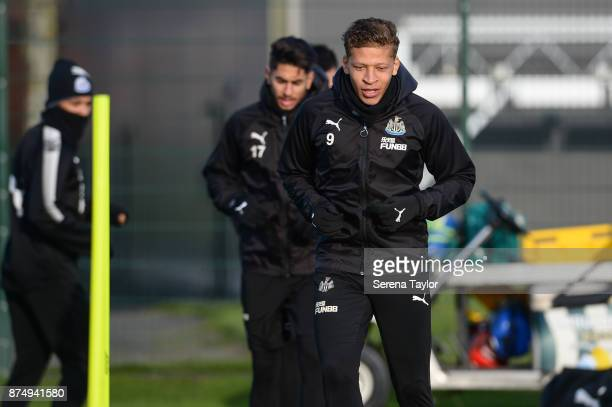 Dwight Gayle warms up during the Newcastle United Training session at the Newcastle Untied Training Centre on November 16 in Newcastle upon Tyne...