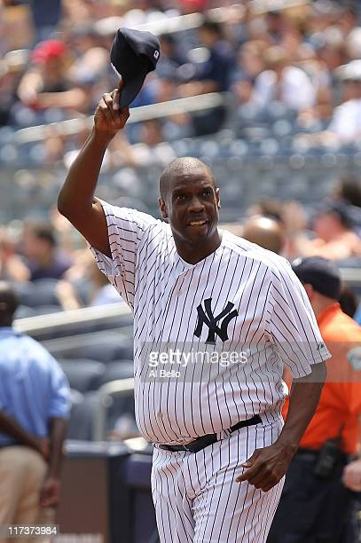 Dwight Gooden is introduced during The New York Yankees 65th Old Timers Day game on June 26 2011 at Yankee Stadium in the Bronx borough of New York...