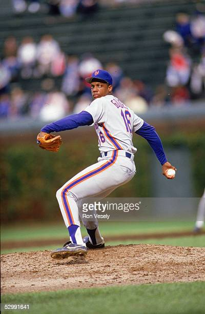 Dwight Gooden of the New York Mets pitches during an MLB game at Wrigley Field in Chicago Illinois Dwight Gooden played for the New York Mets from...