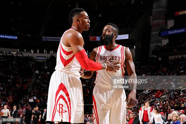Dwight Howard and James Harden of the Houston Rockets are seen against the Indiana Pacers on January 10 2016 at the Toyota Center in Houston Texas...