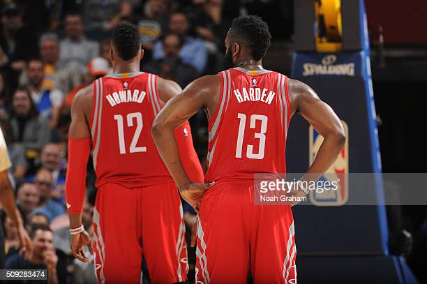 Dwight Howard and James Harden of the Houston Rockets while facing the Golden State Warriors on February 9 2016 at Oracle Arena in Oakland California...