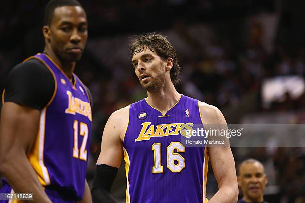 Dwight Howard and Pau Gasol of the Los Angeles Lakers react to a call against the San Antonio Spurs during Game One of the Western Conference...