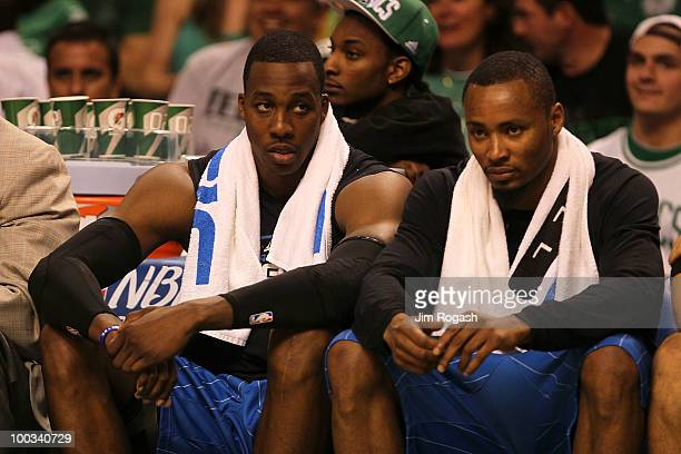 Dwight Howard and Rashard Lewis of the Orlando Magic sit on the bench dejected late in the fourth quarter against the Boston Celtics at TD Banknorth...