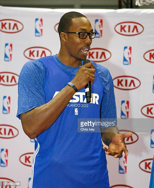 Dwight Howard answers questions from fans in the Kia MVP court at Jam Session during NBA All Star Weekend on February 25 2012 at the Orange County...