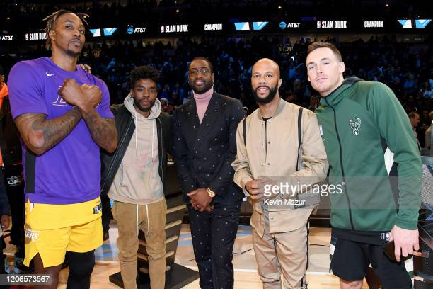 Dwight Howard Chadwick Boseman Dwyane Wade Common and Pat Connaughton attend 2020 State Farm AllStar Saturday Night at United Center on February 15...