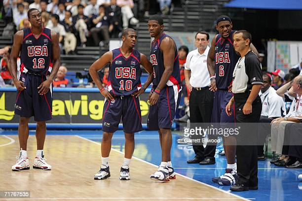 Dwight Howard Chris Paul Joe Johnson head coach Mike Krzyzewski and LeBron James of the USA Basketball Men's Senior National Team look on during...
