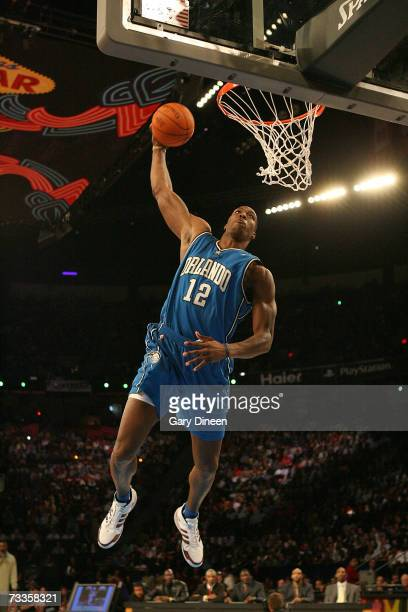 Dwight Howard dunks the ball during Sprite Slam Dunk Competition at NBA AllStar Weekend on February 17 2007 at Thomas Mack Center in Las Vegas Nevada...