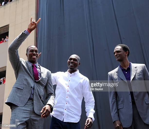 Dwight Howard is introduced as the newest Rocket by Rockets center legends Hakeem Olajuwon and Ralph Sampson on July 13 2013 at The Toyota Center...