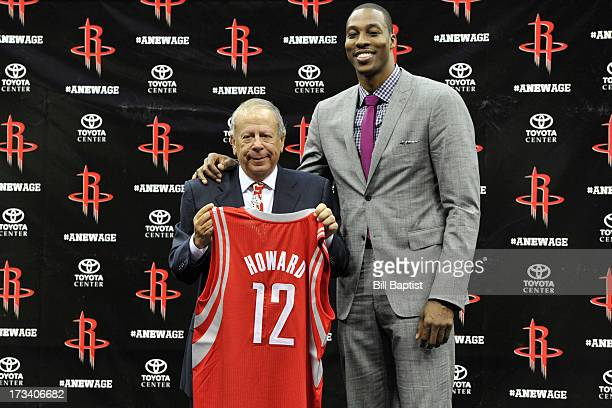 Dwight Howard is introduced as the newest Rocket by Rockets Owner Leslie Alexander on July 13 2013 at The Toyota Center Houston Texas NOTE TO USER...