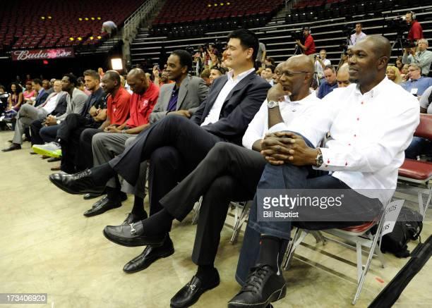 Dwight Howard is introduced as the newest Rocket by Rockets Owner Leslie Alexander Rockets center legends Hakeem Olajuwon Elvin Hays Ralph Sampson...