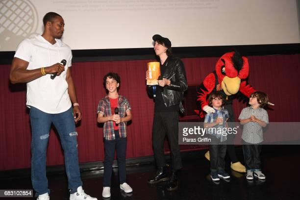 "Dwight Howard, Jason Drucker, Charlie Wright, Harry The Hawk, Wyatt Walters, and Dylan Walters attend ""Diary Of A Wimpy Kid: The Long Haul"" Atlanta..."